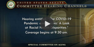 Screenshot from the Senate hearings on Racial Disparities in health care.