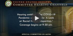 Screenshot from the Senate hearings on Racial Disparities in health care.