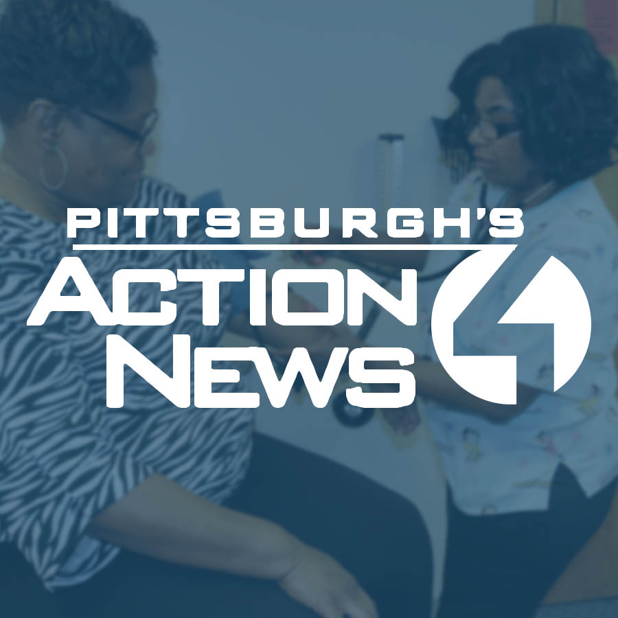 Pittsburgh Action News 4 logo over a woman receiving medical care from a nurse