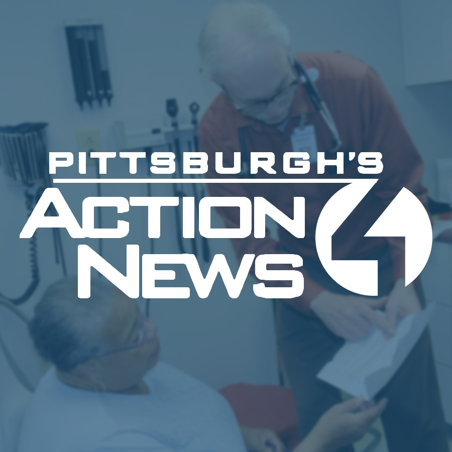 Pittsburgh Action News 4 logo over a woman receiving medical care from a doctor